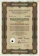 Klein Schanzlin Becker AG 1961 KSB Frankenthal Pegnitz Nürnberg 1000 DM Vorzüge