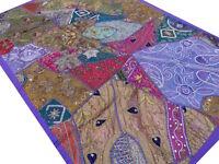 Tapis murale indien Patchwork Tenture Dessus de table Inde Violet Boho Fait main