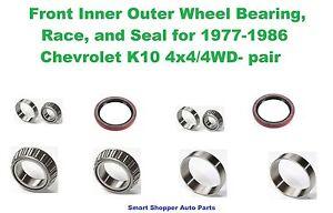 Front Inner Outer Wheel Bearing, Race, Seal for 1977-1986 Chevrolet K10 4WD-pair