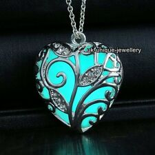 SALE Black Friday - Xmas Gift For Her Turquoise Glow Silver Necklace Love Women