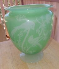 Antique STEUBEN GLASS #938 Birds of Paradise Vase in Jade alabaster acid etched