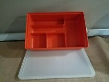 Vintage Tupperware Tuppercraft Red Stow-N-Go Storage Hobby Container w/ Lid