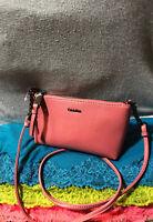 Calvin Klein Hayden Mercury Dahlia Crossgrain Leather Zip ShoulderBag Crossbody