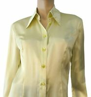 ESCADA Lettuce Green Silk Satin Button Blouse 36 US 6 NEW WITH TAGS