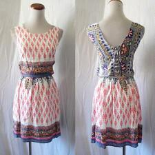 NEW Prairie BATIK FLORAL Lace UP Open Back PEASANT Festival BOHO Hippie DRESS S