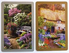 PAIR SWAP CARDS. COTTAGE GARDEN WITH SEAT & COUNTRY HOME WITH THATCHED ROOF. VGC