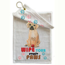 "Puggle Paw-Wipe Towel 11"" x 18"" Grommet with Hook"