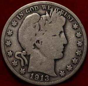1913 Philadelphia Mint Silver Barber Half Dollar