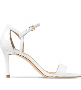 NIB Size 6 Michael Kors Simone Mid Patent Leather White Sandals Heels