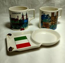 Enesco coffee cups, Paris, London, and ashtray coffee holder of Italy