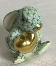 Herend Bunny With Heart Key Lime Hand Painted Porcelain 24K Gold Trim New