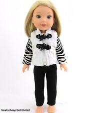 "Zebra Puffer Vest Pant Outfit Set Made to fit 14.5"" AG Wellie Wishers Doll 3pc"