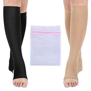 Open Toe Medical Compression Socks for Women & Men S/M/L/XL/XXL (1 & 2 Pair)