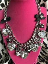 Betsey Johnson LARGE Crystal Pewter Puffy Heart Jewel Silver Bow Charm Necklace