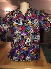 Dia de la Catrina, SOMETHING FISHY Handmade  Shirt, XL, Hawaiian, 100% Cotton,