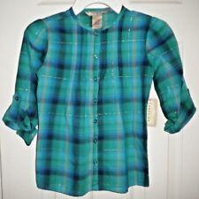 NWT Arizona Jean Company Girls Blue/Green Plaid Top SZ L(6) Button-Up, Roll Slee