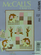 McCall's 6721 PATTERN for PILLOWS & QUILT with Appliqued OWLS & HEDGEHOG *NEW*