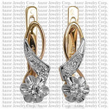 RUSSIAN STYLE G-SI1 DIAMOND EARRINGS 585 ROSE and WHITE GOLD .36 ct.t.w. #E1150