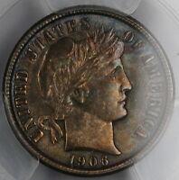 1906 Barber Silver Dime, PCGS Genuine, UNC Details, Toned *CHOICE BU*