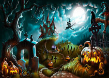 1000Pc Jigsaw Puzzle Halloween Cemetery Witch Cauldron Adult Kid Educational Toy