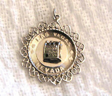 CHARM LAS VEGAS Vintage Sterling Silver Souvenir Charm with Slot Machine