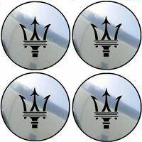 4 stickers adhésifs MASERATI fond chrome 40 à 100 MM pour centre de jantes