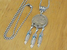 Indian Head/Buffalo Nickel Coin Dream Catcher Fx Turquoise Pendant Necklace Men+