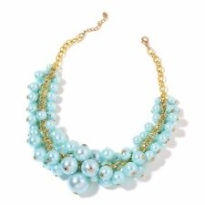 BLUE PEARL SIMULATED BLUE PEARL BIB DRAPE NECKLACE GOLD TONE STATEMENT BABY BLUE