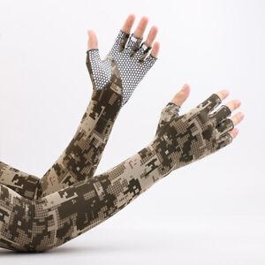Men Ice Silk Sunscreen Driving Anti-skid Gloves Long Sleeves Half Finger Gloves