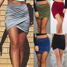 Womens Celeb Ruched Wrap Asymmetric Mini Skirt Banded Waist Bandage Pencil Skirt