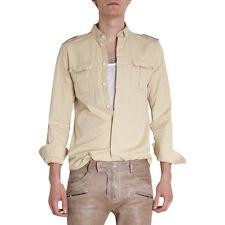 Balmain Button Down Shirt Epaulette Detail Safari Size 16.5 Slim Fit Embroidered