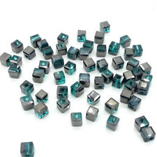 100PCS black Emerald CUBE crystal glass loose BEADS 4MM