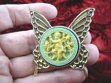 cs54-1) Cherub in garden blue + ivory Cameo butterfly Pin Pendant Jewelry brooch