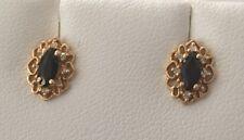 14K Yellow Gold Blue Marquise Sapphire w/ Diamond Halo Post Stud Earrings