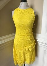 NWT Oscar de la Renta Dress Womens 6 Saffron Sleeveless Gathered Waist Lace NEW