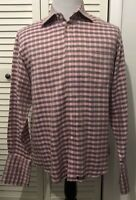 Ted Baker London Men's Dress Shirt French Cuff Pink Gray Size 4 Large Checkered