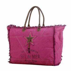 NWT Myra Bag BIG!  Popping Pink Travel Canvas Leather XL Weekender Beach Tote