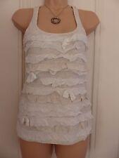 Hollister size XS UK6 light beige racerback vest top white/beige tiers of fabric