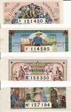4 billets ENTIERS de loterie nationale 1944