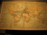 Antike Landkarte 1905 Übersichtskarte des Weltverkehrs,Dampferschiff-Antique map