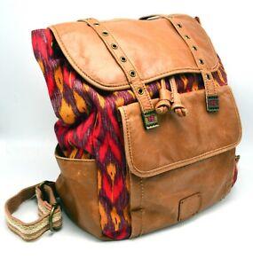 The SAK Backpack Ikat Red Multi Woven Jacquard Leather Large Purse Bag