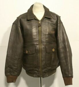 VINTAGE 80's AVIREX DISTRESSED LEATHER A2 BOMBER JACKET SIZE 2XL
