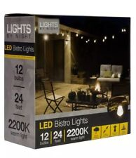 Lights By Night 24 ft. Black Integrated LED Commercial Grade Bistro String Light