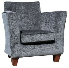 TUB CHAIR GREY LUXURY CHENILE FABRIC