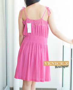 BNWT RRP$80 FRENCH CONNECTION FCUK Crochet Beach Dress Size L 12 Pink
