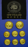 SET OF 8 J PRESS BLAZER REPLACEMENT BUTTONS IN GOLD TONE METAL GOOD USED COND.