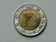 Mexico 2006 $2 PESOS Bimetallic Coin AU+ with Toned-Lustre & Eagle Coat of Arms