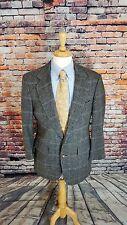 Hart Schaffner Marx 42R Men's Blazer Grey Plaid CAMEL HAIR Sports Coat Jacket