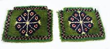 """Antique Vintage Handmade Turkish Seat Covers 17""""x 18"""" & 16""""x 17"""" pure wool  #312"""