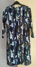 Next Tailoring Geometric Slimming Fit  Dress  Size 8 Blue Khaki   Ladies Womens